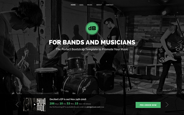 Bootstrap landing page for Bands and Musicians - Decibel