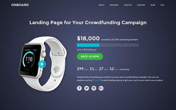 Responsive Bootstrap Landing Page for Crowdfunding Campaigns - Onboard