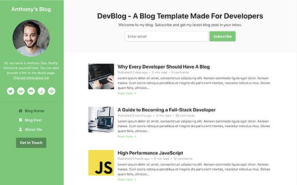 Free Bootstrap Blog Template for Developers - Devblog