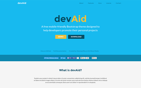 Free Bootstrap Theme for Developers - devAid