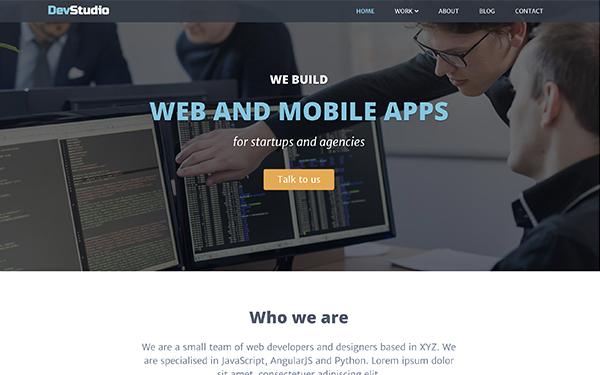 Responsive Bootstrap Theme for Web Development Agencies - DevStudio