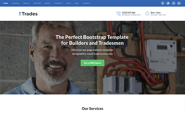Responsive HTML5 Website Template for Builders and Tradesmen - Trades