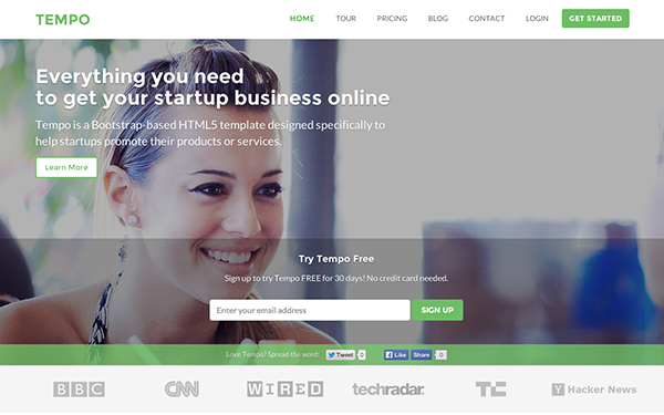 Responsive Bootstrap Theme for Startups - Tempo