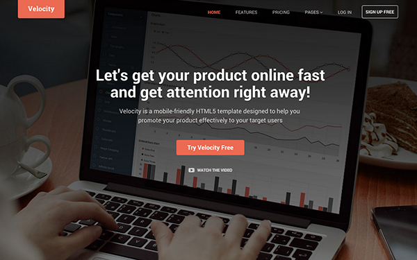 Responsive HTML5 Website Template for Product - Velocity