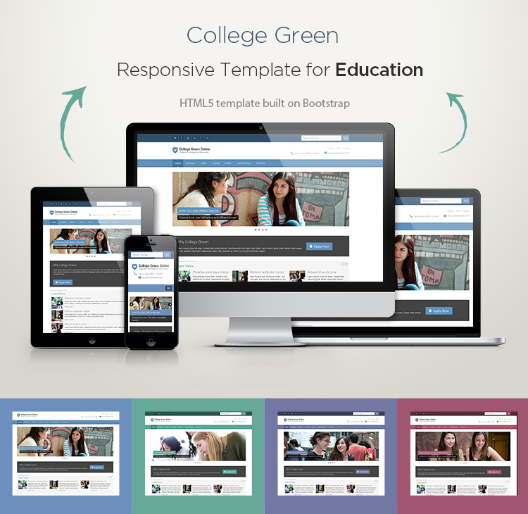 responsive bootstrap theme for education college green. Black Bedroom Furniture Sets. Home Design Ideas