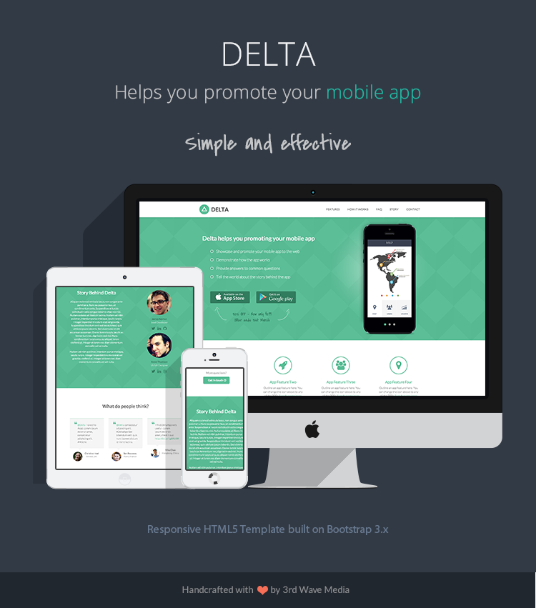 responsive bootstrap theme for mobile apps delta. Black Bedroom Furniture Sets. Home Design Ideas