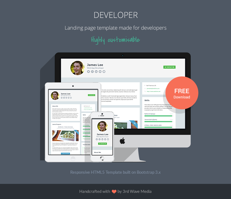 free responsive portfolio site template for developers - Free Web Templates
