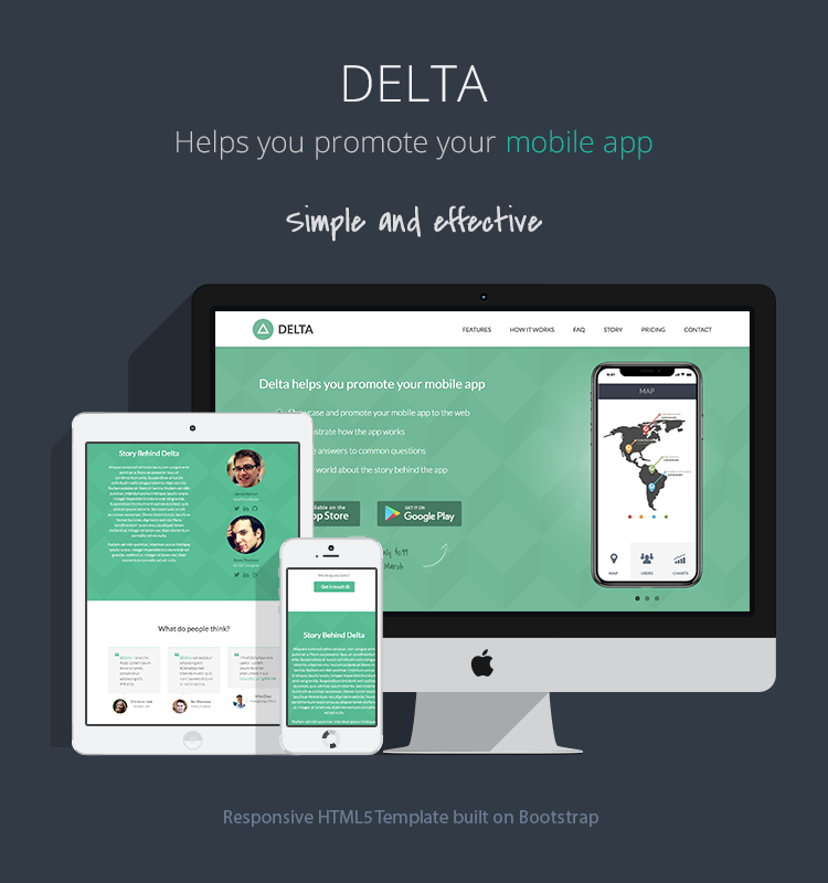 Responsive Bootstrap Theme for Mobile Apps - Delta