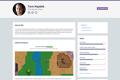 free responsive website template for developers example - Tom Najdek