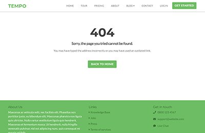 Bootstrap Theme for Startups - Tempo 404 Page
