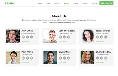 Bootstrap Theme for Startups - Tempo About Page