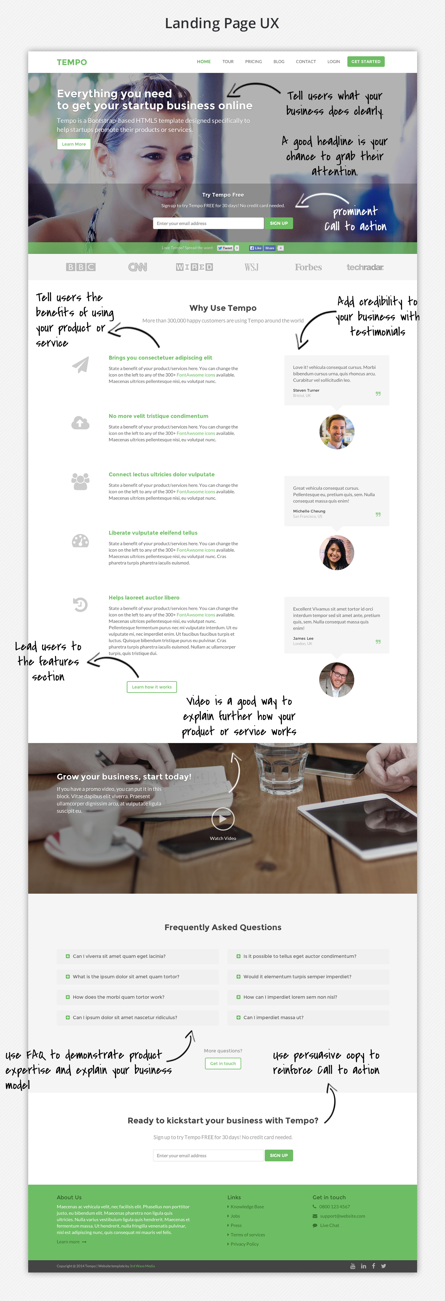Bootstrap Theme for Startups - Tempo Landing Page UX Notes
