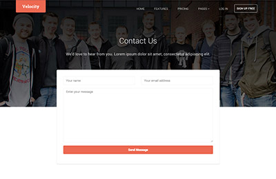HTML5 template for products - Velocity - Contact us page