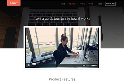 HTML5 template for products - Velocity - Features page
