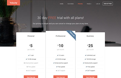 HTML5 template for products - Velocity - pricing page