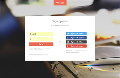 HTML5 template for products - Velocity - Signup page