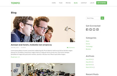 HTML5 template for startups - Tempo - Blog page