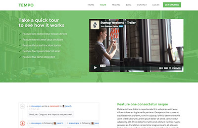 HTML5 template for startups - Tempo - Tour page