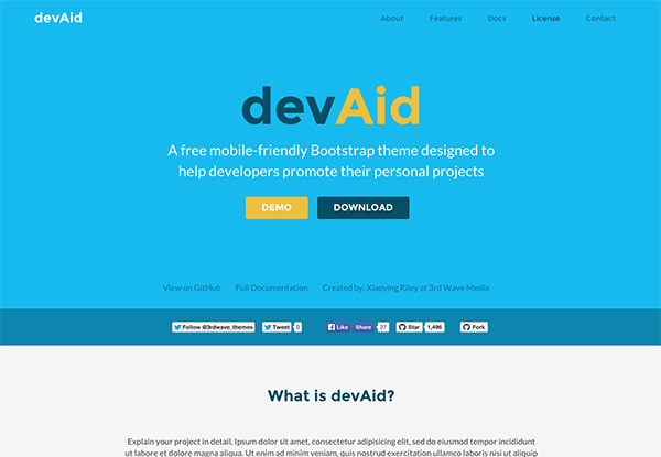 devaid free bootstrap 4 template for developers side projects