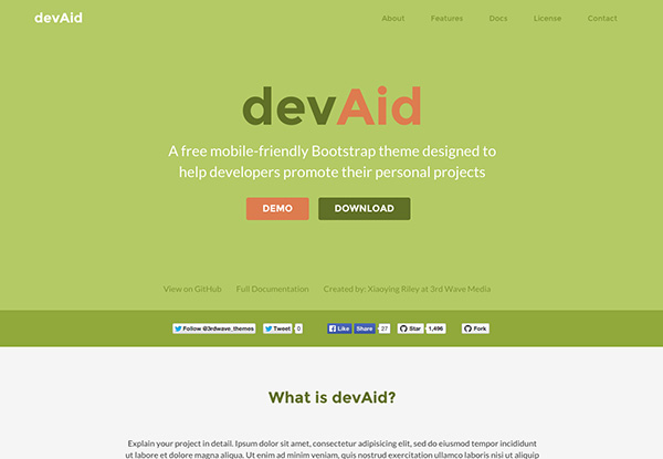 Free Bootstrap theme for developers - colour 2