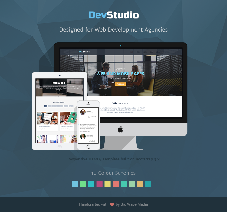 Responsive Bootstrap theme for web development agencies - DevStudio