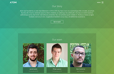 Bootstrap theme for mobile apps - Atom - About Page