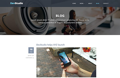 Bootstrap theme for web development agencies - DevStudio - Blog Page