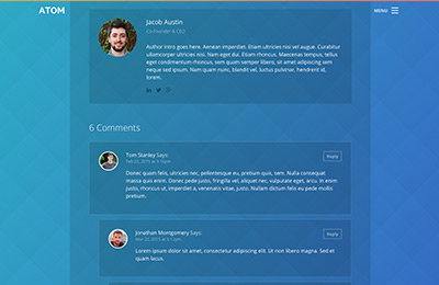 Bootstrap theme for mobile apps - Atom - Blog Post Page