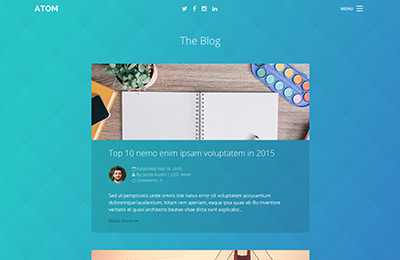 Bootstrap theme for mobile apps - Atom - Blog Home Page