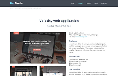 Bootstrap theme for web development agencies - DevStudio - Case Study 1 Page