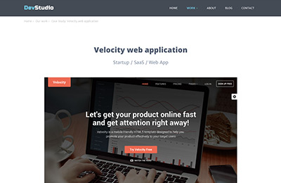 Bootstrap theme for web development agencies - DevStudio - Case Study 2 Page