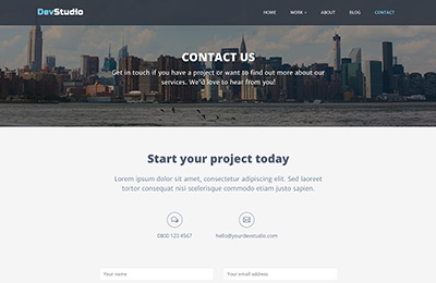 Bootstrap theme for web development agencies - DevStudio - Contact Page