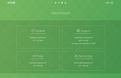 Bootstrap theme for mobile apps - Atom - Contact Page