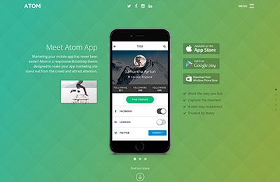 Bootstrap theme for mobile apps - Atom - Home Option 2