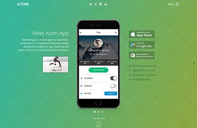Atom bootstrap 4 theme for mobile app startups bootstrap theme for mobile apps atom home option 2 maxwellsz