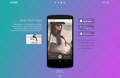Bootstrap theme for mobile apps - Atom - Home option 3