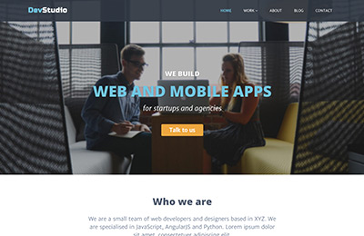 Bootstrap theme for web development agencies - DevStudio - Homepage