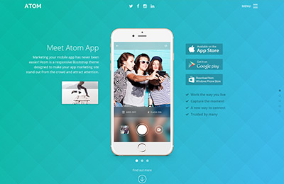 Bootstrap theme for mobile apps - Atom - Home option 1