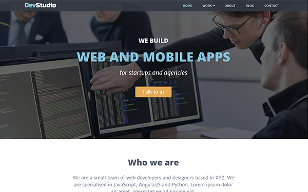 Bootstrap 4 Template for Web Development Agenceis & Developers