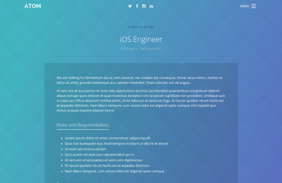 Bootstrap theme for mobile apps - Atom - Job Ad Page