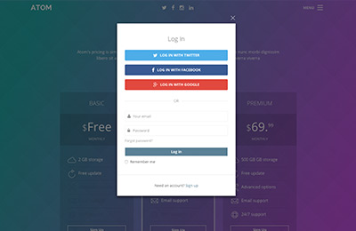 Bootstrap theme for mobile apps - Atom - Login