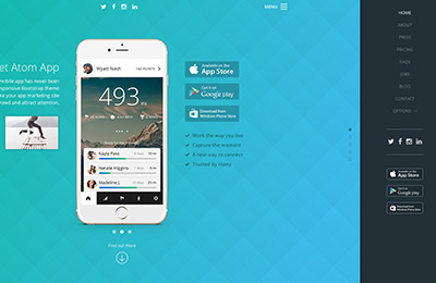Bootstrap theme for mobile apps - Atom - Menu