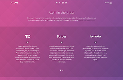 Bootstrap theme for mobile apps - Atom - Press Page
