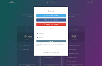 Bootstrap theme for mobile apps - Atom - Signup