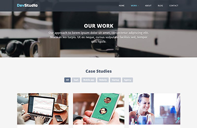Bootstrap theme for web development agencies - DevStudio - Our Work Page