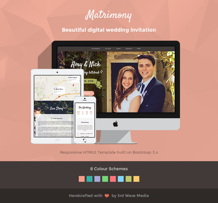 Responsive Wedding Invitation Template Matrimony - Wedding invitation templates with photo