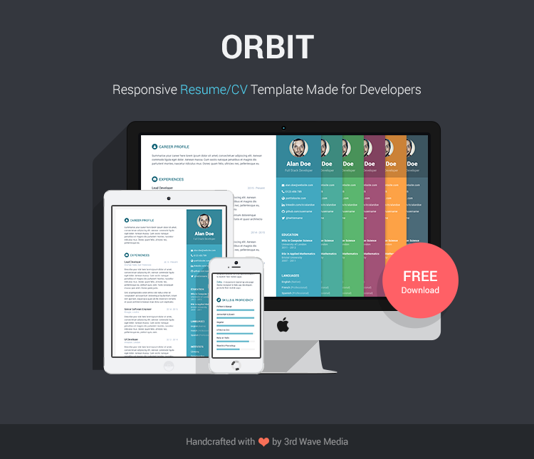 Free bootstrap resumecv template for developers orbit orbit free responsive bootstrap resumecv template for developers yelopaper Gallery