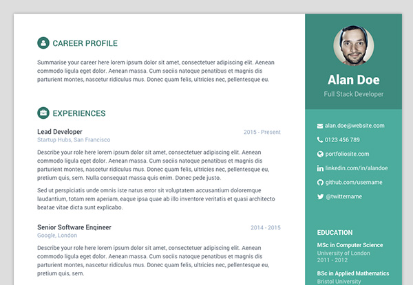 free bootstrap resumecv template for developers colour 2