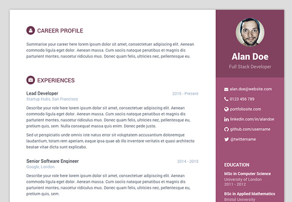 Free Bootstrap resume/cv template for developers - Color 4