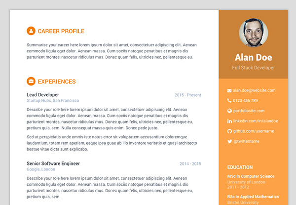 free bootstrap resumecv template for developers colour 5